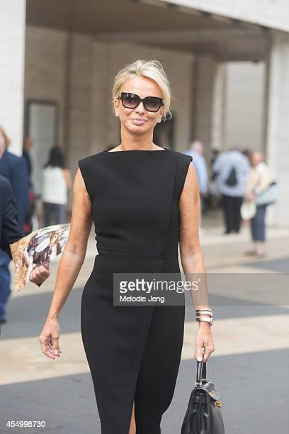 Corinna zu SaynWittgenstein wears a Balenciaga dress Hermes bag and Prada sunglasses on Day 5 of New York Fashion Week Spring/Summer 2015 on...