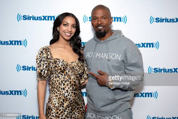 Corinne and father Jamie Foxx visit SiriusXM Studios on May 14, 2019 in New York City.