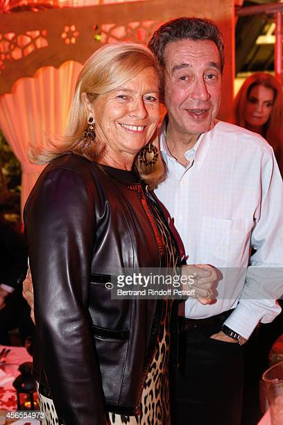 Corinne Bouygues and businessman Claude Berda attend the 1st wedding anniversary party of actress Cyrielle Clair and businessman Michel Corbiere at...