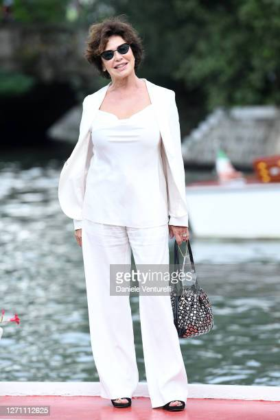 Corinne Clery is seen arriving at the 77th Venice Film Festival on September 07, 2020 in Venice, Italy.