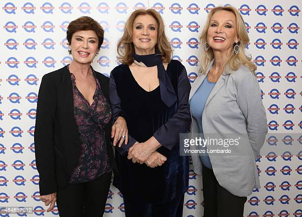 Corinne Clery Iva Zanicchi and Barbara Bouchet attend the 'Quelli Che Il Calcio' Tv Show on March 1 2015 in Milan Italy