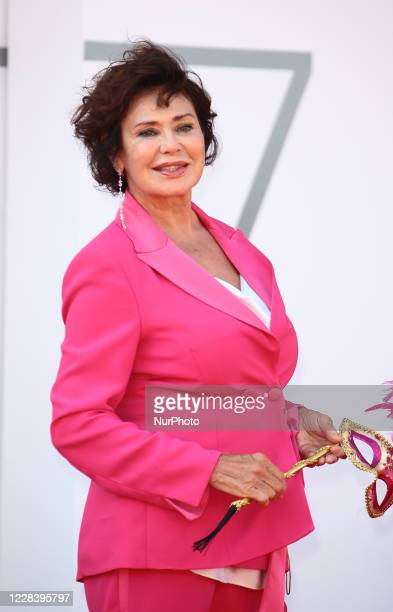 Corinne Clery walks the red carpet ahead of the movie ''Dorogie Tovarischi!'' at the 77th Venice Film Festival on September 07, 2020 in Venice, Italy.