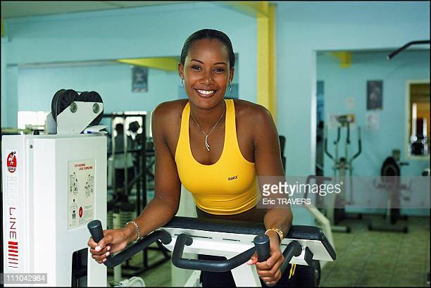 Corinne Coman Miss France 2003 has a gym session at the Abymes Spa in Guadeloupe in Les Abymes France on July 26 2003