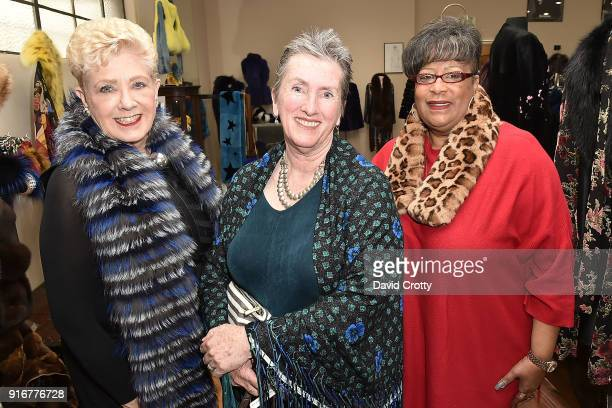 Corinne Cooley Mary Pat Curran and Sandy Williams attend the Somper Furs Hosts Birthday Tea Party Honoring Iran Hopkins on February 10 2018 in Los...