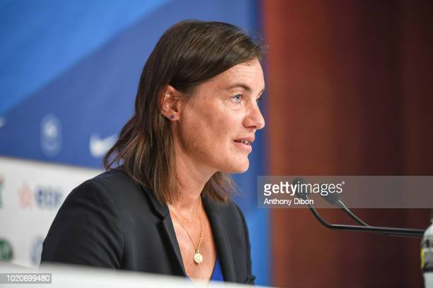 Corinne Diacre coach of France during the press conference to present her list of players for the friendly match between France and Mexique in...