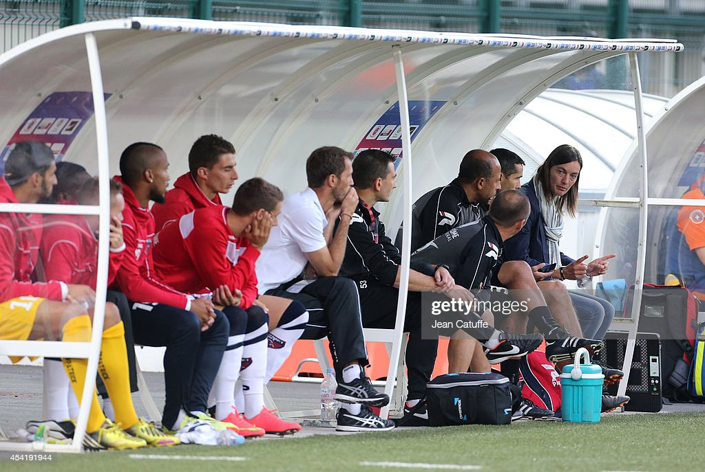 Corinne Diacre, first woman's coach in French professional football directs her team of Clermont Foot Auvergne (Clermont-Ferrand) during the french Ligue 2 match between La Berrichonne de Chateauroux and Clermont Foot Auvergne at Stade Gaston-Petit on August 15, 2014 in Chateauroux, France.