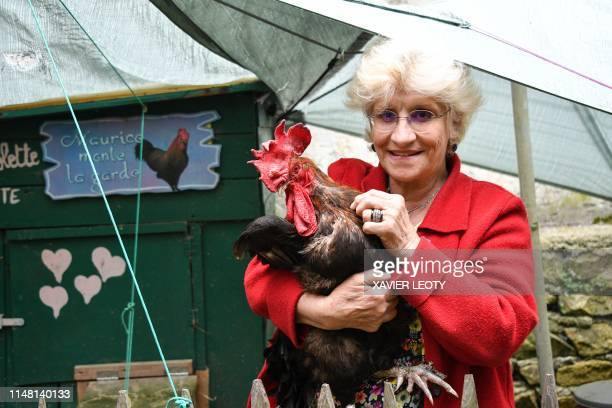 Corinne Fesseau poses with her rooster Maurice in her garden at SaintPierred'Oleron in La Rochelle western France on June 5 2019 A French court is...