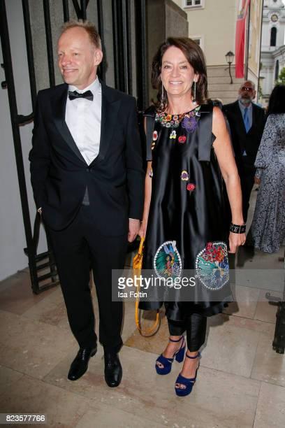 Corinne Flick and guest attend the 'La Clemenzia di Tito' premiere during the Salzburg Festival 2017 on July 27 2017 in Salzburg Austria