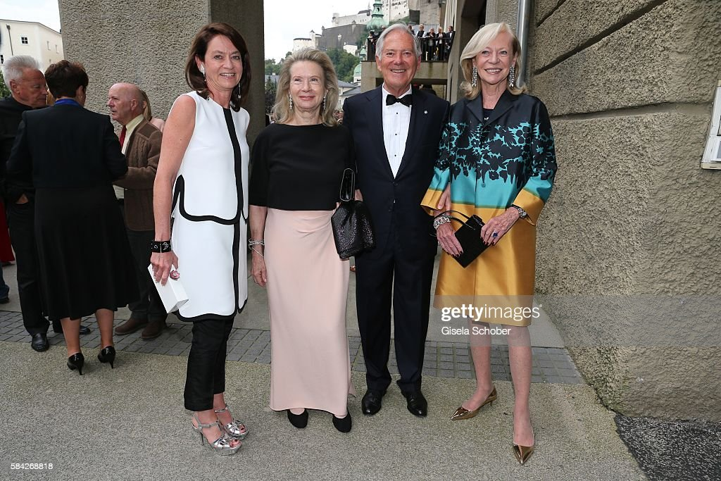 Corinne Flick, Roland Berger and his wife Karin, Corry Mueller-Vivil, mother of Corinne Flick during the opera premiere 'The Exterminating Angel' on July 28, 2016 in Salzburg, Austria.