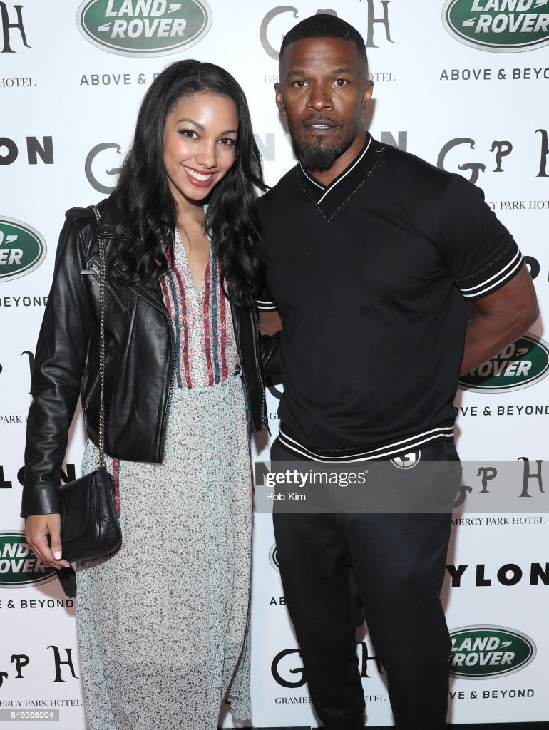 Corinne Foxx (L) and Jamie Foxx attend NYLON's Rebel Fashion Party, powered by Land Rover, at Gramercy Terrace at Gramercy Park Hotel on September 12, 2017 in New York City.