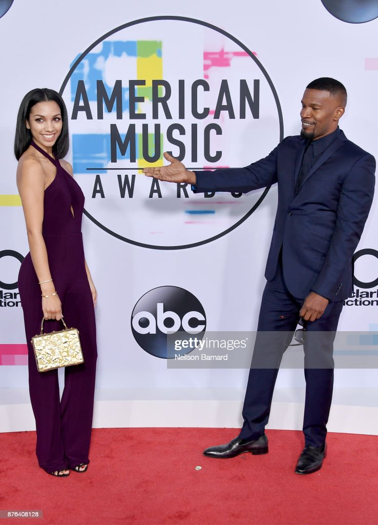 Corinne Foxx (L) and Jamie Foxx attend the 2017 American Music Awards at Microsoft Theater on November 19, 2017 in Los Angeles, California.