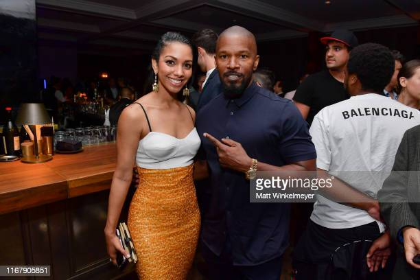 "Corinne Foxx and Jamie Foxx attend the LA premiere of Entertainment Studios' ""47 Meters Down Uncaged"" on August 13, 2019 in Westwood, California."