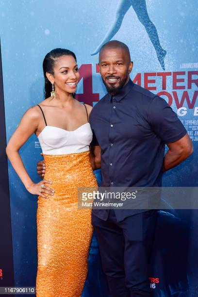 Corinne Foxx and Jamie Foxx attend the LA Premiere of Entertainment Studios' 47 Meters Down Uncaged at Regency Village Theatre on August 13 2019 in...
