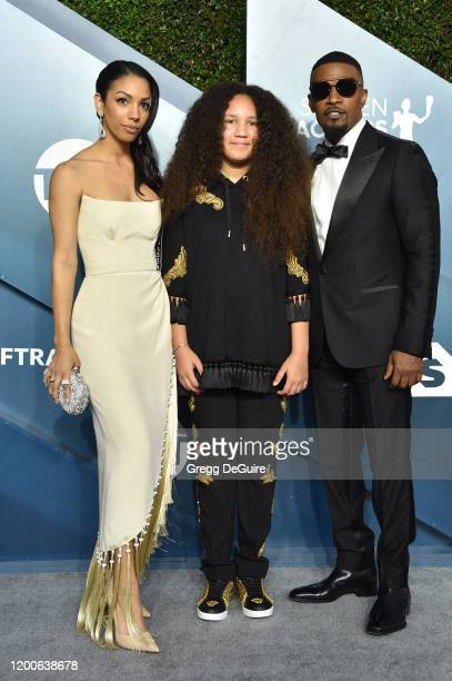 Corinne Foxx, Annalise Bishop and Jamie Foxx attend the 26th Annual Screen ActorsGuild Awards at The Shrine Auditorium on January 19, 2020 in Los...