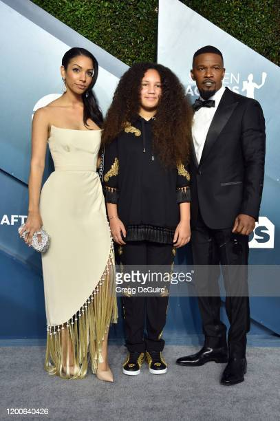 Corinne Foxx Annalise Bishop and Jamie Foxx attend the 26th Annual Screen Actors Guild Awards at The Shrine Auditorium on January 19 2020 in Los...