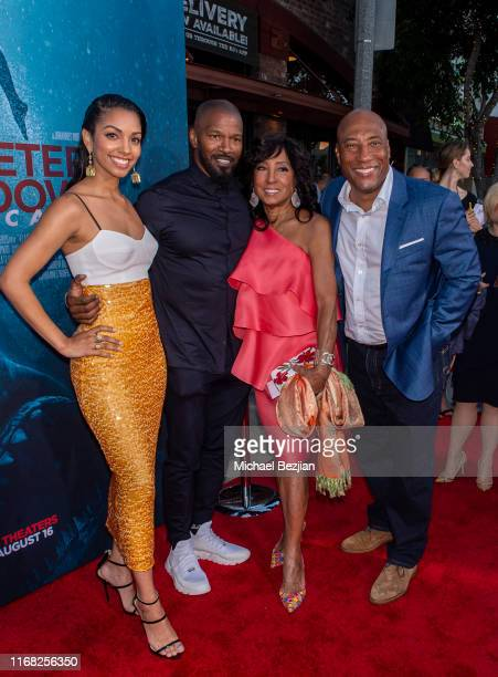 Corinne Foxx Jamie Foxx Carolyn Folks and Byron Allen attend the LA Premiere of 47 Meters Down UNCAGED on August 13 2019 in Los Angeles California