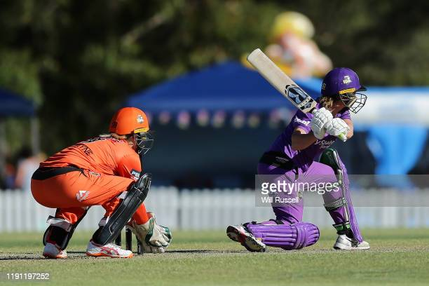 Corinne Hall of the Hurricanes bats during the Women's Big Bash League match between the Hobart Hurricanes and the Perth Scorchers at Lilac Hill on...