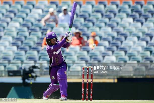 Corinne Hall of the Hurricanes bats during the Women's Big Bash League match between the Perth Scorchers and the Hobart Hurricanes at WACA on January...