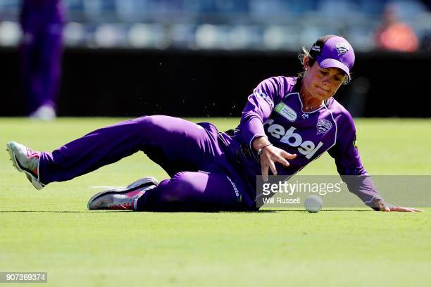 Corinne Hall of the Hurricanes fields during the Women's Big Bash League match between the Perth Scorchers and the Hobart Hurricanes at WACA on...