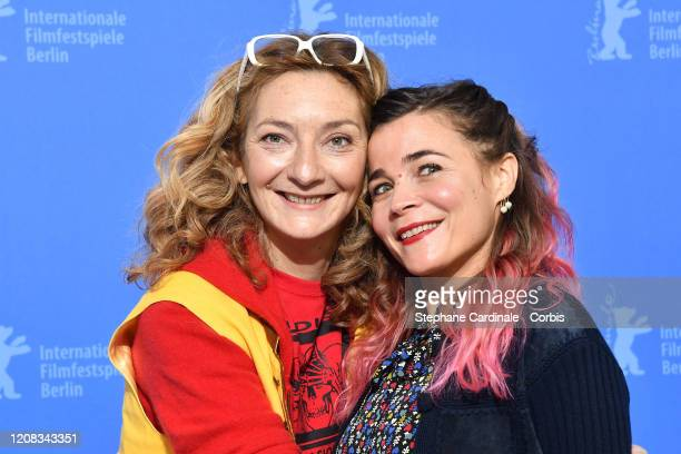 Corinne Masiero and Blanche Gardin pose at the Delete History photo call during the 70th Berlinale International Film Festival Berlin at Grand Hyatt...