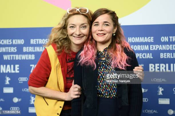 Corinne Masiero and Blanche Gardin pose at the Delete History press conference during the 70th Berlinale International Film Festival Berlin at Grand...
