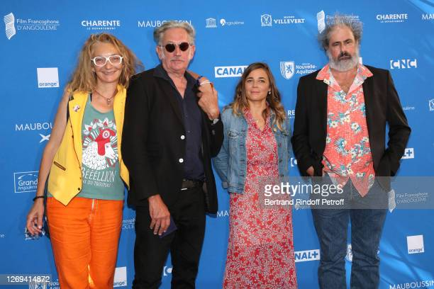 """Corinne Masiero, Benoît Delepine, Blanche Gardin and Gustave Kervern attend the """"Effacer L'Historique"""" Photocall at 13th Angouleme French-Speaking..."""