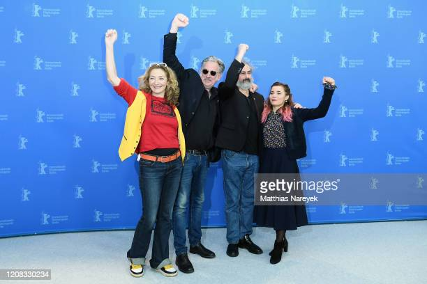 Corinne Masiero directors Benoit Delepine and Gustave Kervern and Blanche Gardin pose at the Delete History photo call during the 70th Berlinale...