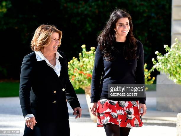 Corinne Mentzelopoulos owner and manager of Chateau Margaux and her daughter Alexandra walk in the Chateau Margaux a 262 hectar wine estate located...