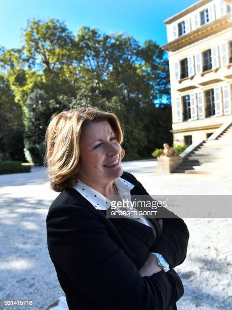 Corinne Mentzelopoulos owner and manager of Chateau Margaux poses outside the Chateau Margaux a 262 hectar wine estate located on the PDO Margaux in...