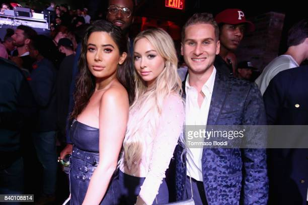 Corinne Olympios and Brandon Cohen attend the VMA after party hosted by Republic Records and Cadillac at TAO restaurant at the Dream Hotel on August...