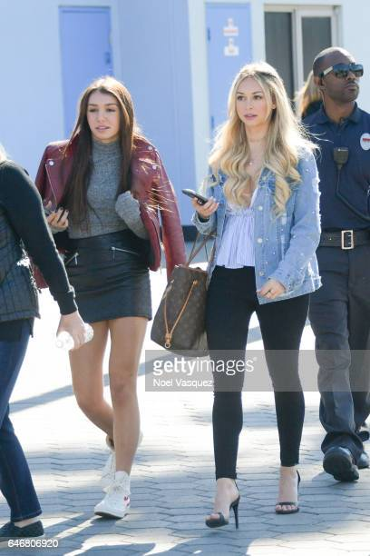 Corinne Olympios and Taylor Olympios visits 'Extra' at Universal Studios Hollywood on March 1 2017 in Universal City California