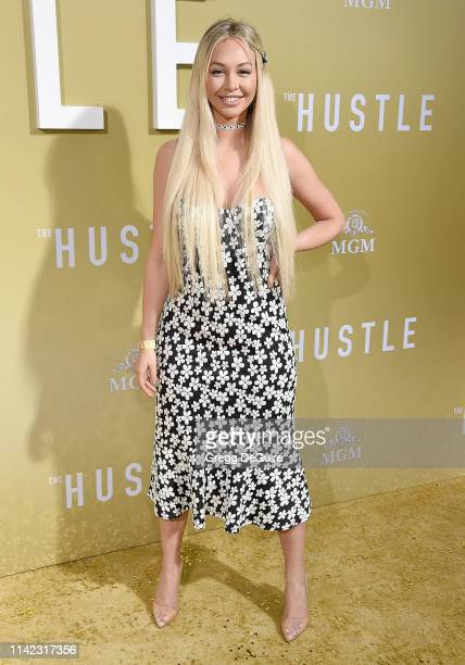 """Corinne Olympios arrives at the Premiere Of MGM's """"The Hustle"""" at ArcLight Cinerama Dome on May 8, 2019 in Hollywood, California."""