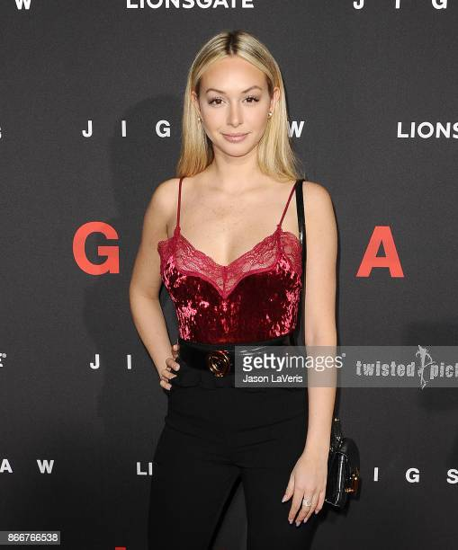 Corinne Olympios attends the premiere of 'Jigsaw' at ArcLight Hollywood on October 25 2017 in Hollywood California
