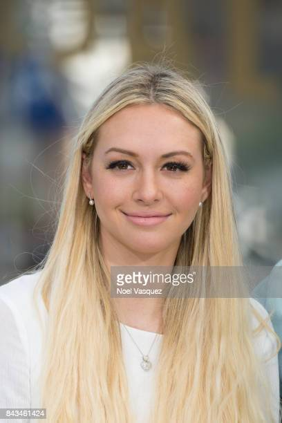 Corinne Olympios visits 'Extra' at Universal Studios Hollywood on September 6 2017 in Universal City California