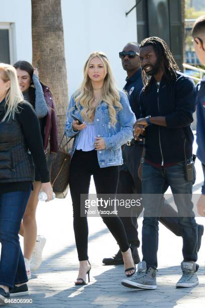 Corinne Olympios visits 'Extra' at Universal Studios Hollywood on March 1 2017 in Universal City California