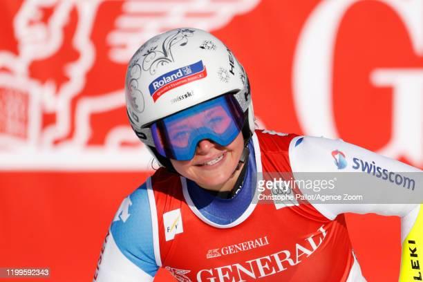 Corinne Suter of Switzerland celebrates during the Audi FIS Alpine Ski World Cup Women's Super G on February 9, 2020 in Garmisch Partenkirchen,...