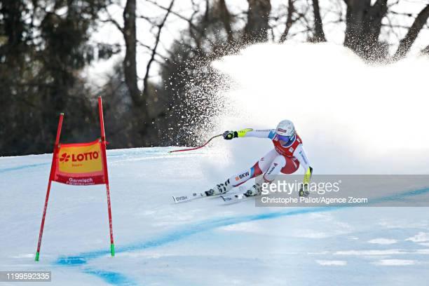Corinne Suter of Switzerland in action during the Audi FIS Alpine Ski World Cup Women's Super G on February 9, 2020 in Garmisch Partenkirchen,...