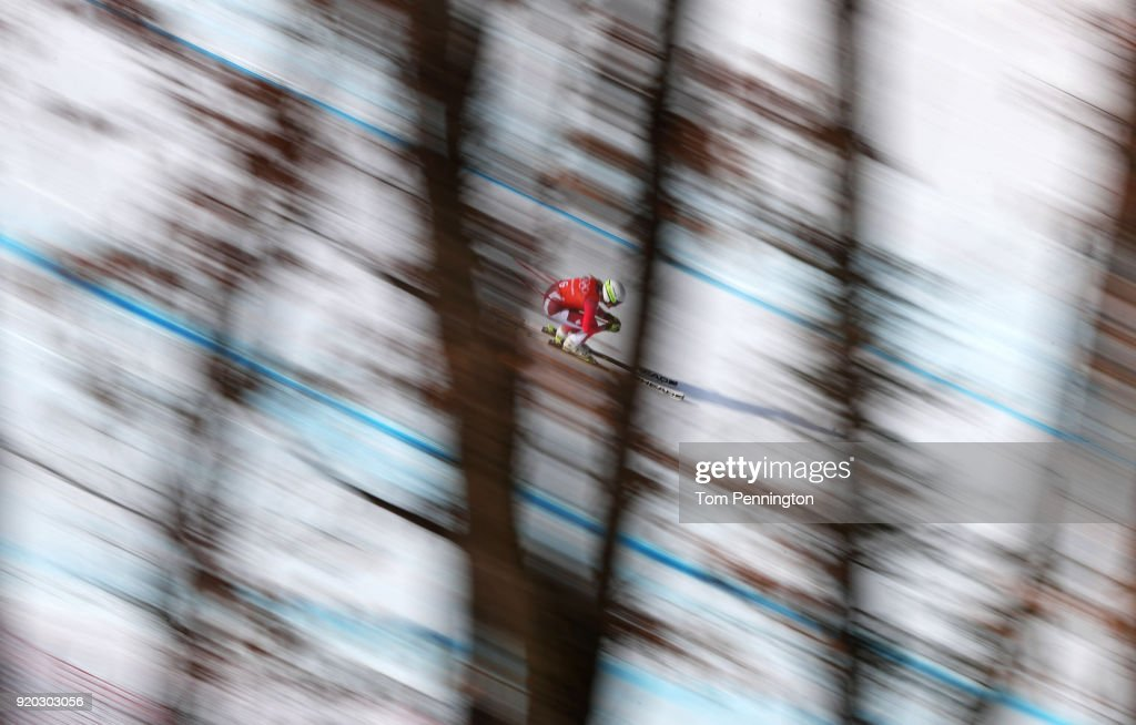 Corinne Suter of Switzerland makes a run during Alpine Skiing Ladies' Downhill Training on day 10 of the PyeongChang 2018 Winter Olympic Games at Jeongseon Alpine Centre on February 19, 2018 in Pyeongchang-gun, South Korea.