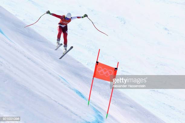Corinne Suter of Switzerland makes a run during the Ladies' Downhill Alpine Skiing training on day eleven of the PyeongChang 2018 Winter Olympic...
