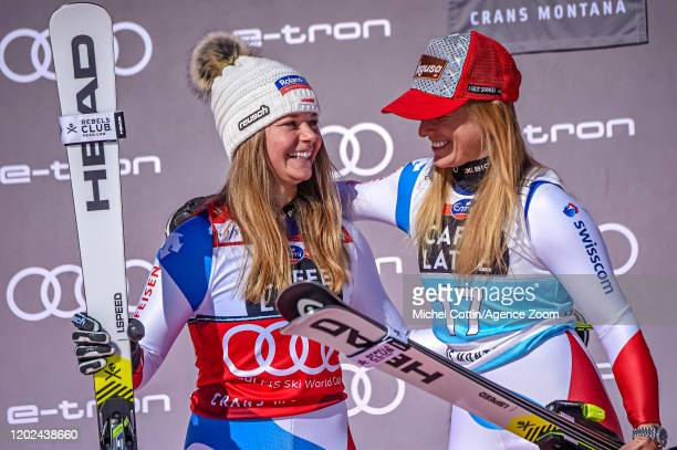 Corinne Suter of Switzerland takes 2nd place, Lara Gut-behrami of Switzerland takes 1st place during the Audi FIS Alpine Ski World Cup Women's...