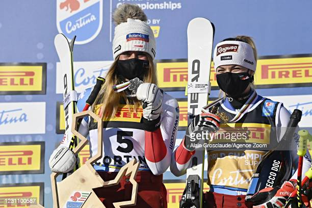 Corinne Suter of Switzerland wins the silver medal, Lara Gut-behrami of Switzerland wins the gold medal during the FIS Alpine Ski World Championships...