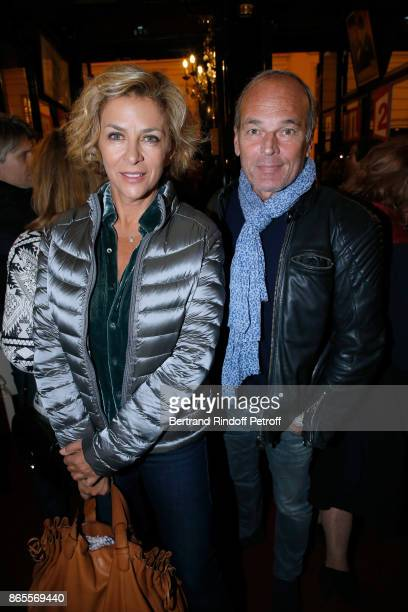 "Corinne Touzet and Laurent Baffie attend the ""Ramses II"" Theater Play at Theatre des Bouffes Parisiens on October 23, 2017 in Paris, France."