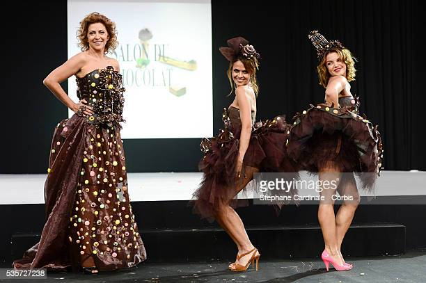 Corinne Touzet Cali Morales and Severine Ferrer walk the runway during the 'Salon Du Chocolat' Fashion Show on October 29 2014 in Paris France