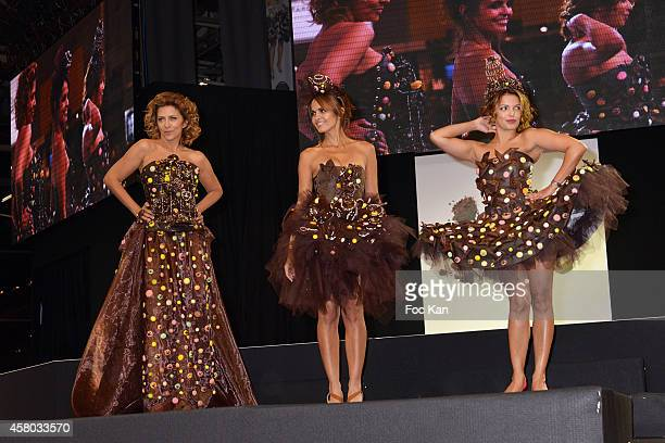 Corinne Touzey Cali Morales and Severine Ferrer attend the 'Salon Du Chocolat Chocolate Fair 20th Anniversary' At the Parc des Expositions Porte de...