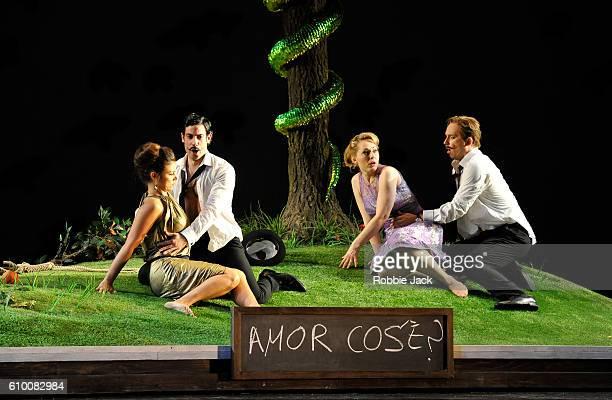 Corinne Winters as Fiordiligi, Alessio Arduini as Guglielmo, Angela Brower as Dorabella and Daniel Behle as Ferrando in the Royal Opera's production...