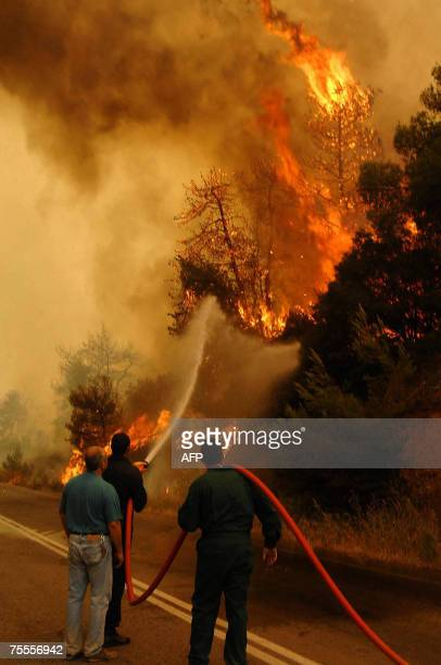 Firemen battle a forest fire in Corinth west of Athens 19 July 2007 A children's summer camp in southern Greece and an entire village was evacuated...