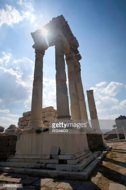 Corinthian capitals and columns of Temple of Trajan. Pergamon. Bergama. Turkey; Europe.