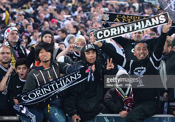 Corinthian fans celebrate victory in the FIFA Club World Cup Final Match between Corinthians and Chelsea at International Stadium Yokohama on...