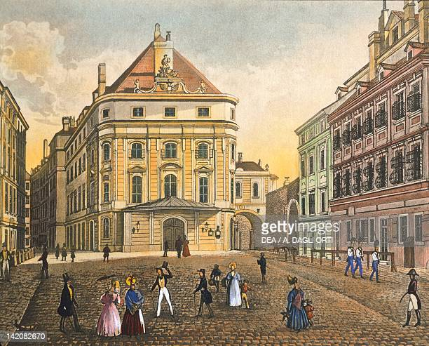 Corinthian Gate Square and the Kaerntnerortheater in Vienna Austria 18th Century Print