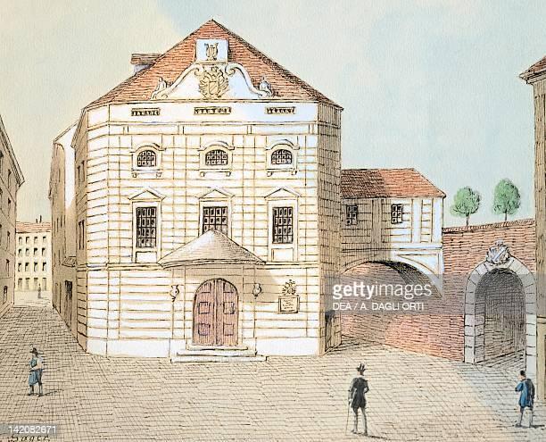 Corinthian Gate theatre in Vienna Austria 19th Century Watercolour